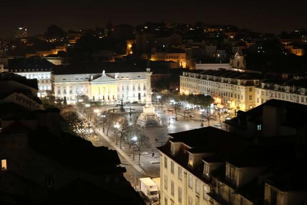 plaza rossio desde elevador santa justa lisboa portugal