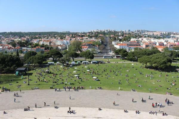 vista desde torre de belem lisboa portugal